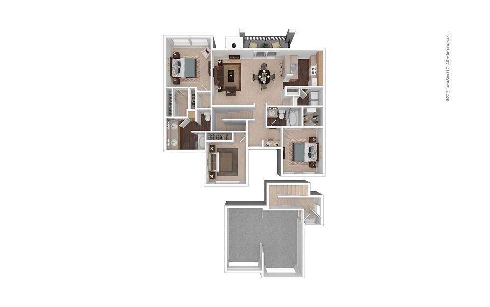 C2 3 Bed 2 Bath Furnished Floorplan