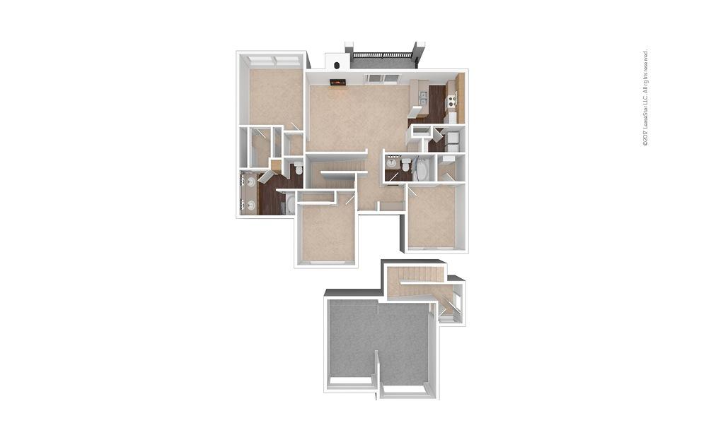 C2 3 Bed 2 Bath Unfurnished Floorplan