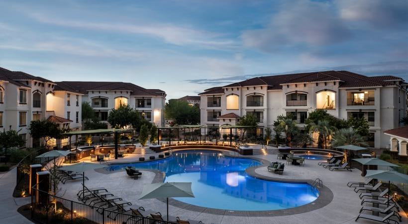 Resort style pool at luxury apartments in Mesa, AZ