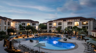 Resort style pool at luxury apartments in Mesa, AZ