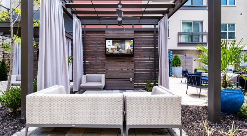 Outdoor lounge at apartments for rent in Atlanta, GA