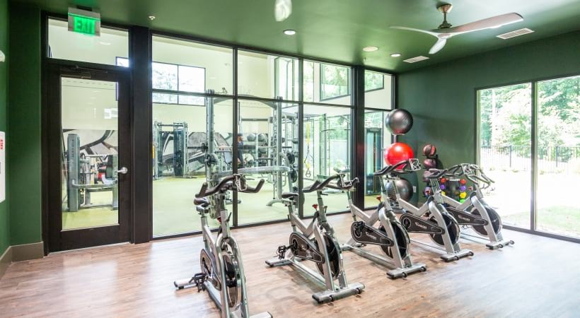 Spin studio at the Cantera by Cortland apartment gym