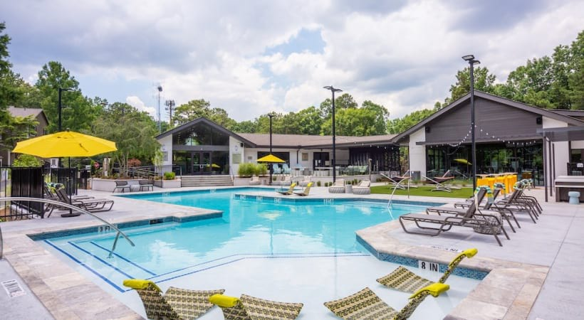 Resort-style pool at our apartments in Tucker, GA