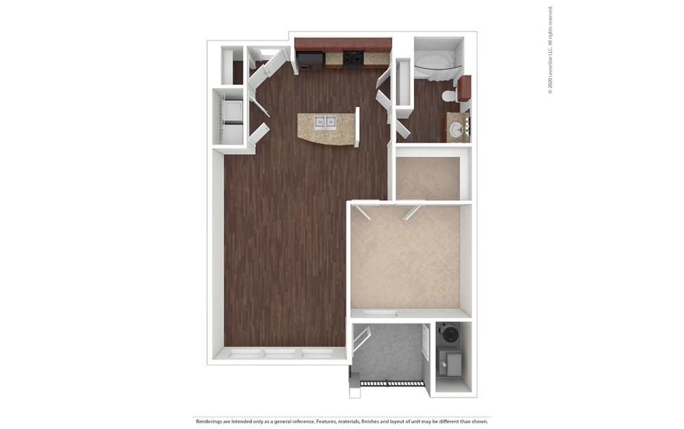 1 bedroom/1 bathroom Palermo Floor Plan