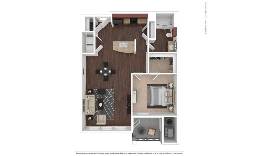 1 bedroom/1 bathroom Palermo Floor Plan