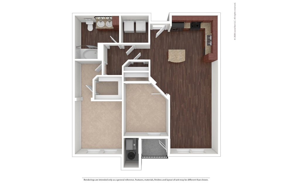 2 bedroom/1 bathroom Marsala Floor Plan