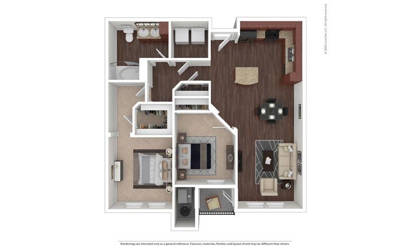 2 bedroom/1 bathroom Marsala Floor Plan