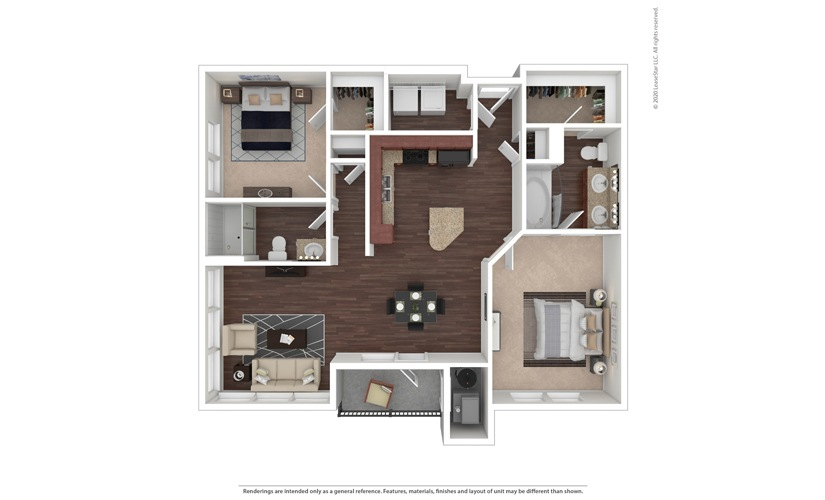2 bedroom/2 bathroom Agrigento Floor Plan