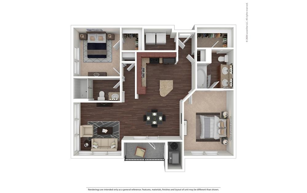 2 bedroom/2 bathroom Agrigento Floor Plan