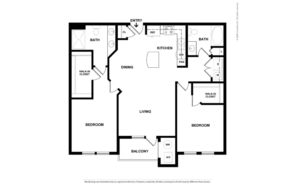 2 bedroom/2 bathroom Gela Floor Plan