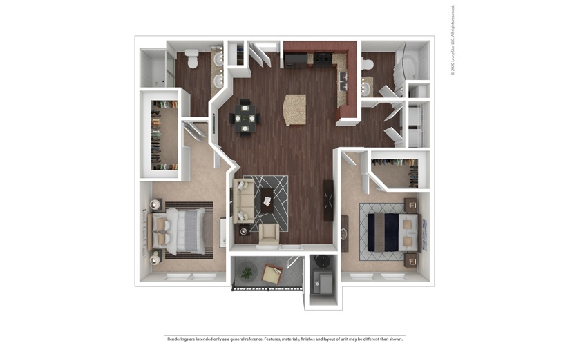 2 bedroom/2 bathroom Gela Floor Plan
