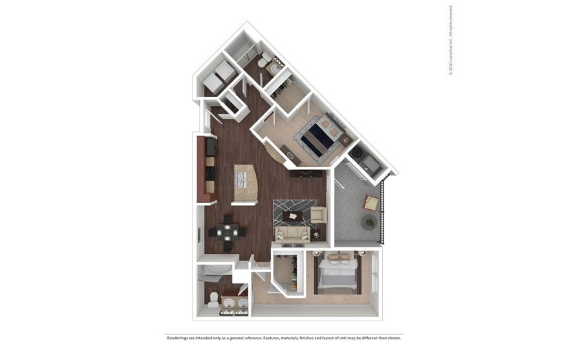 2 bedroom/2 bathroom Vittoria Floor Plan