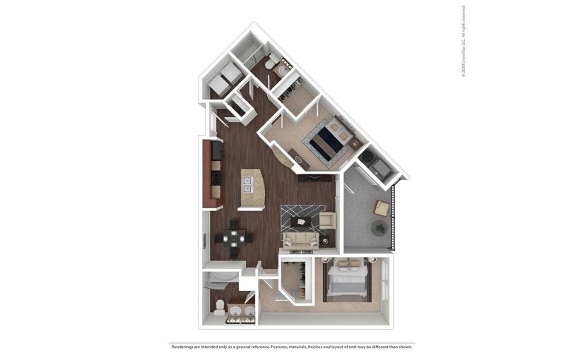 2 bedroom/2 bathroom Vittoria Floor Plan