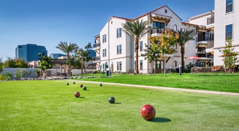 Outdoor lounge with games at our luxury apartments for rent in Biltmore, AZ