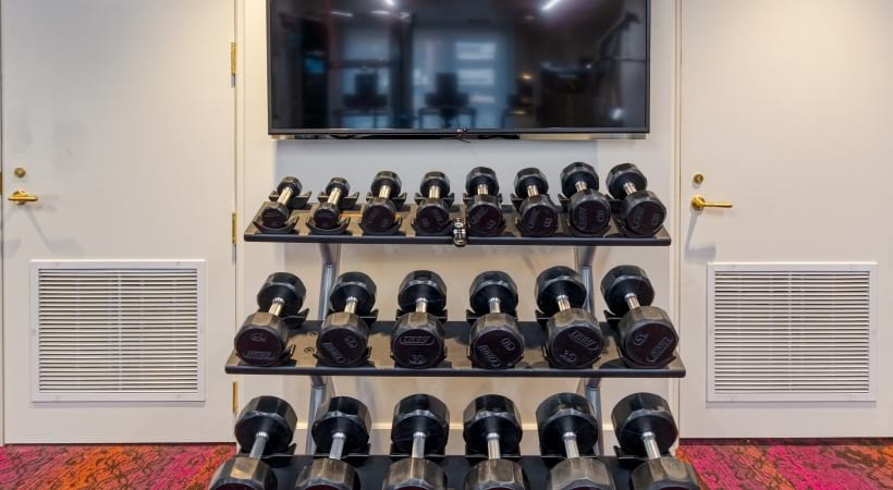 24/7 gym with free weights at our apartments for rent in Paradise Valley, AZ