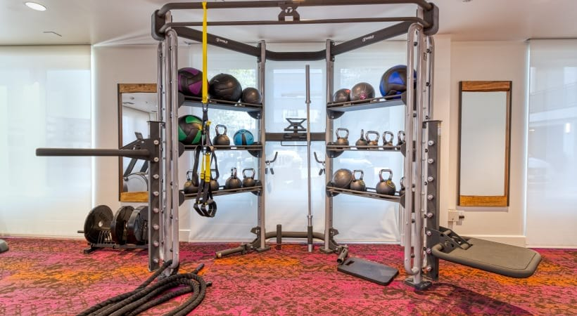 24/7 gym with free weights at our luxury apartments in Scottsdale