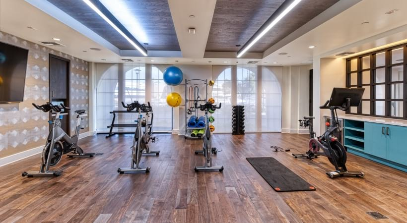 24/7 gym with spin studio at our luxury apartments in Scottsdale, AZ