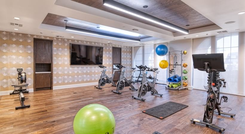 24/7 gym with spin studio at our luxury apartments for rent in Paradise Valley,AZ