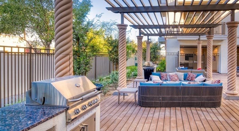 Outdoor lounge with grilling station at our apartments in North Phoenix