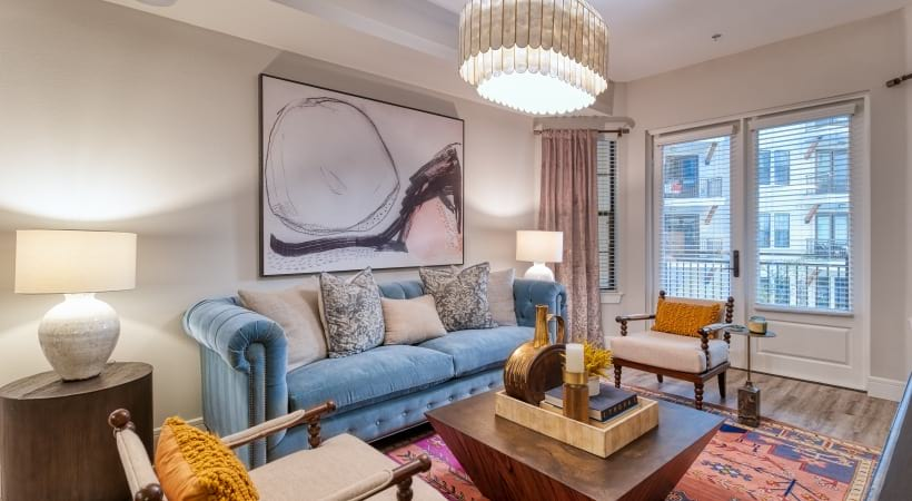Living Rooms with Wood-Style Flooring at Cortland Biltmore Apartments