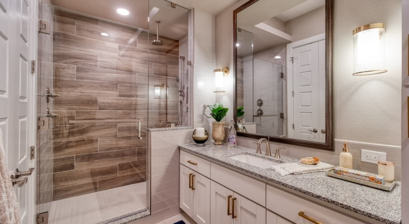 Walk-In Showers with Frameless Glass Enclosures at Cortland Biltmore Apartments