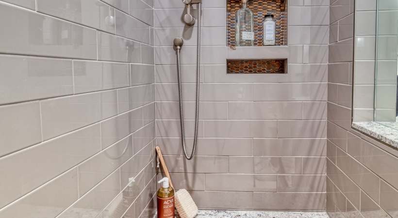 Walk-In Showers with Built-In Bench at Cortland Biltmore Apartments