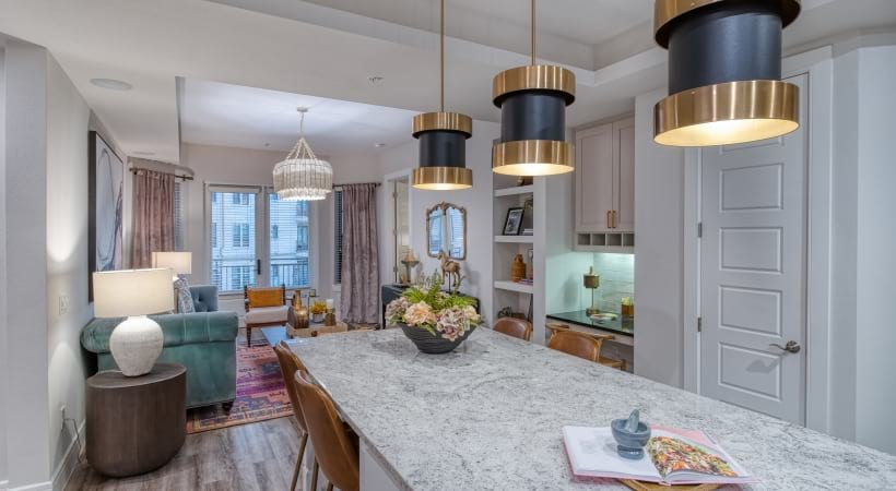 Gourmet Kitchens with Modern Lighting at Cortland Biltmore Apartments