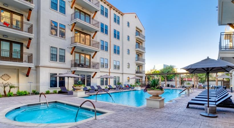 Our Biltmore apartment pool with heated spa