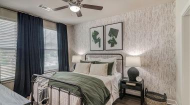Modern apartment bedroom at Cortland Brackenridge