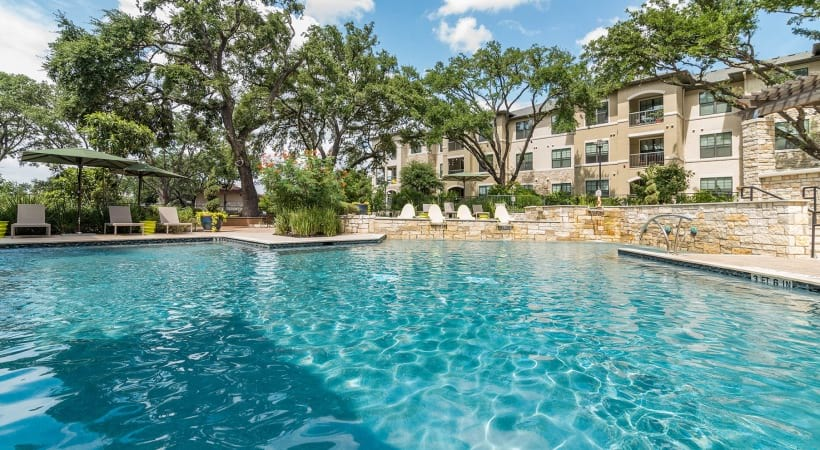 Resort-style pool at our apartments near Broadway