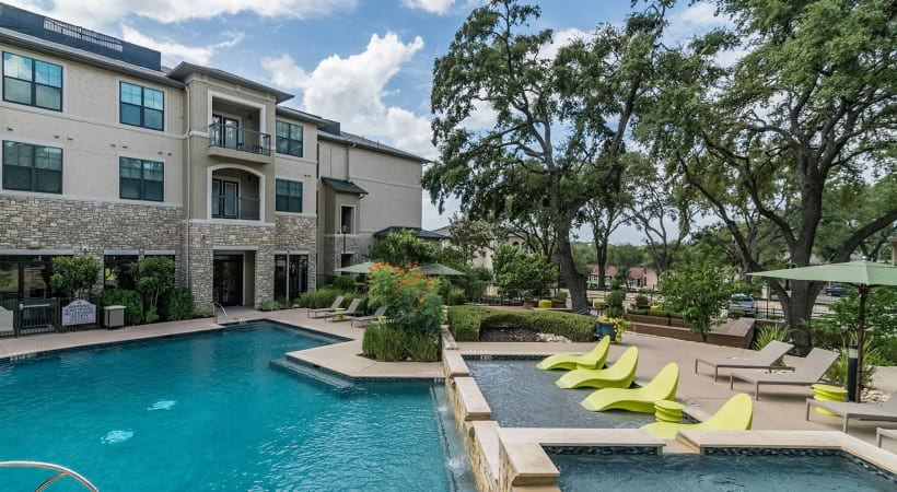 Resort-style pool at our apartments on Broadway in San Antonio