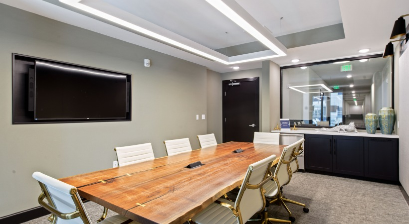 Conference room at luxury apartments in Downtown Durham, NC