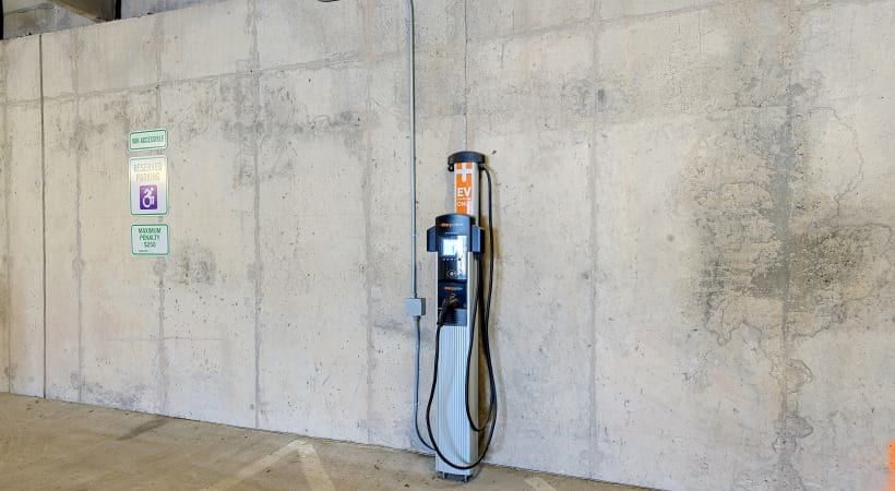 Electric vehicle charging station at our modern apartments in Downtown Durham, NC