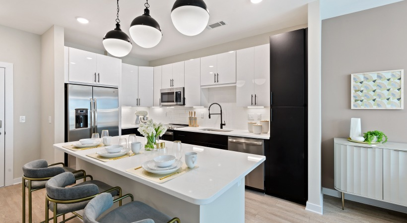 Luxury apartment kitchen at Cortland Bull City