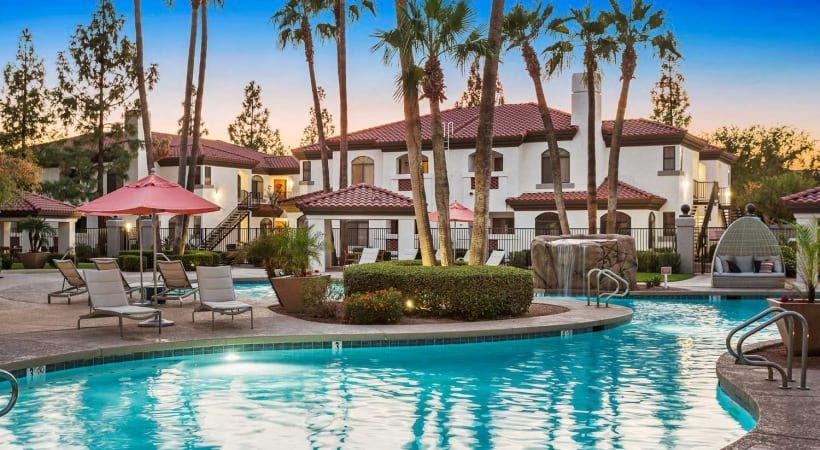 Resort-style pool with heated spa at our luxury apartments in 85226