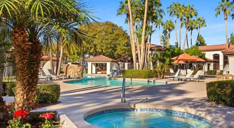 Resort-style pool with heated spa at our luxury apartments near 85226