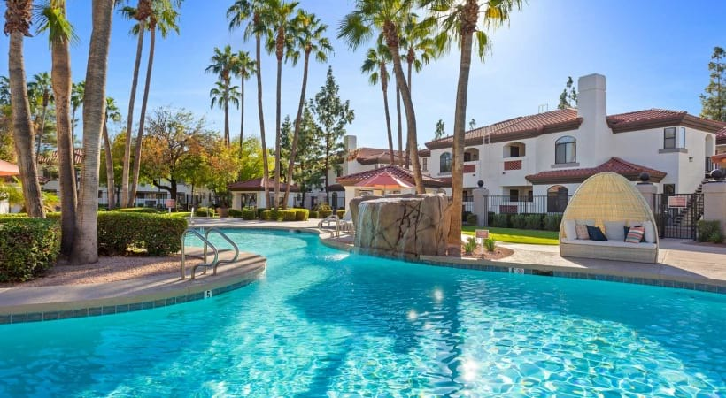 Resort-style pool with heated spa at our upscale apartments near Chandler
