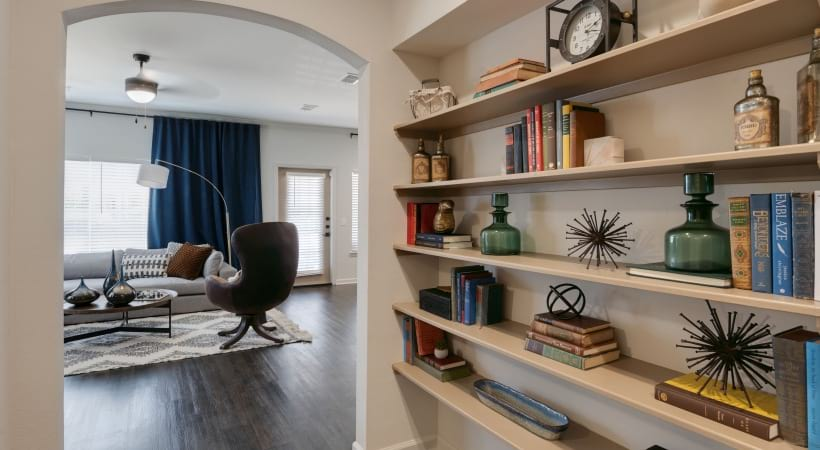 Built-in bookshelves at our modern apartments in Jersey Village