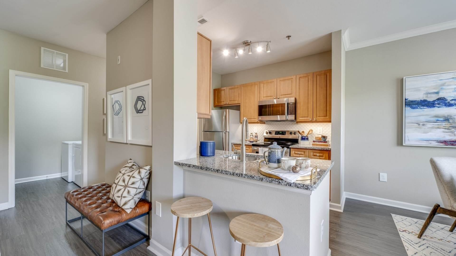 Modern Kitchen With Granite Countertops At Our RTP Apartments