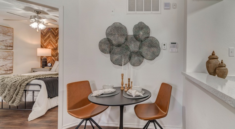 Dining room with modern decor at our upscale apartments for rent in Irving, TX