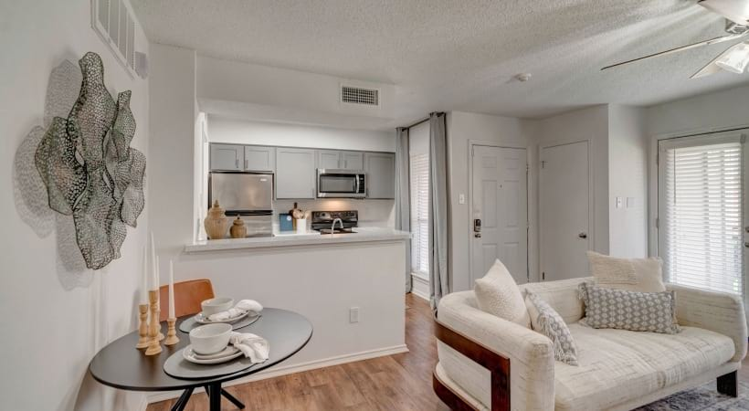 Wood-style flooring at our luxury apartments for rent in Irving, TX