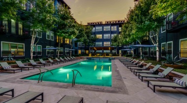 Resort-style pool at 	apartments by Galleria Dallas