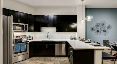 Stainless steel appliances at Galleria Dallas apartments