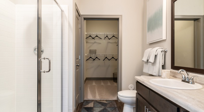Modern apartment bathroom at our Huntersville apartments