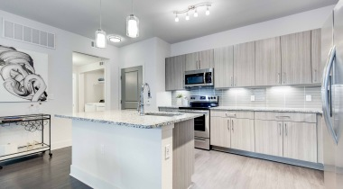 Our modern kitchen at our luxury apartments for rent in Broomfield, CO