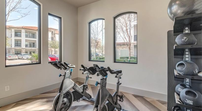 Our Irving apartment gym with spin studio