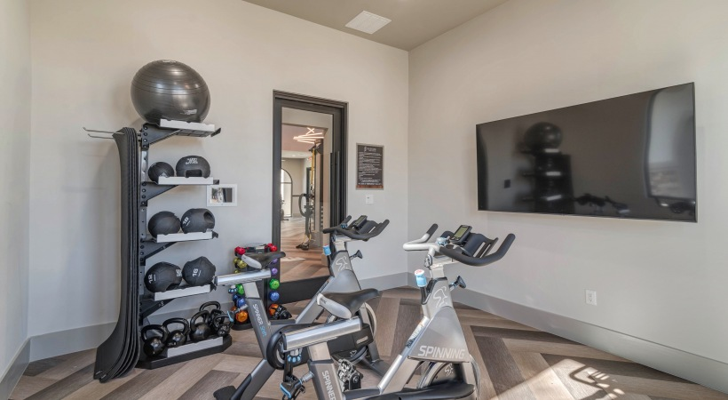 Our Irving apartment gym with free weights