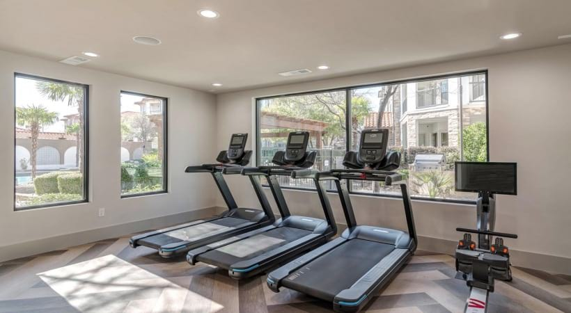Our Las Colinas apartment gym with treadmills
