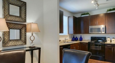 Dining and kitchen area at apartments in Clear Lake, TX