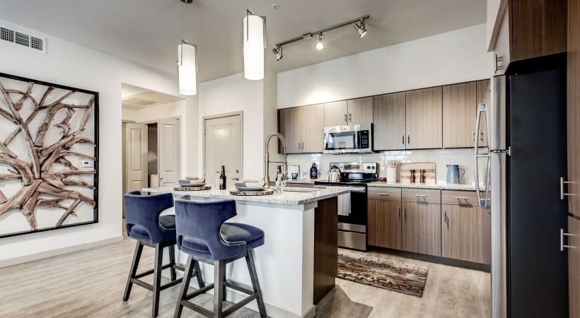 Spacious Kitchen with Modern Lighting